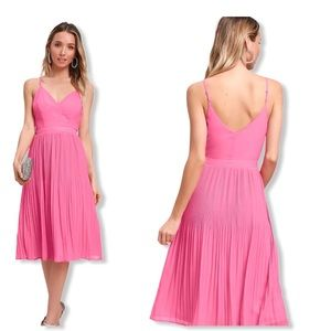 Lulus Love for You Pleated pink MIDI Dress